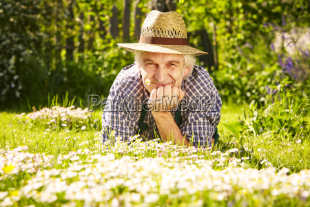 gardener straw hat portrait