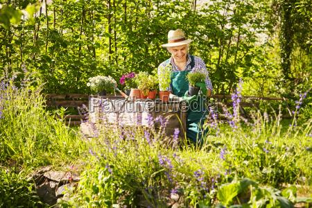 gardening straw hat plants
