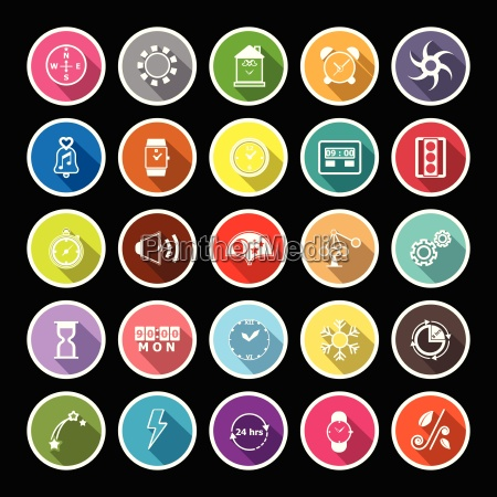 design timer line flat icons with