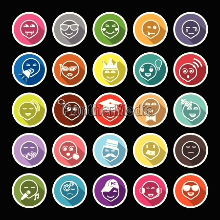 face action line flat icons with