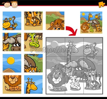 safari animals jigsaw puzzle game