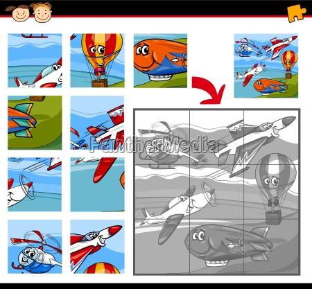 cartoon aircraft jigsaw puzzle game