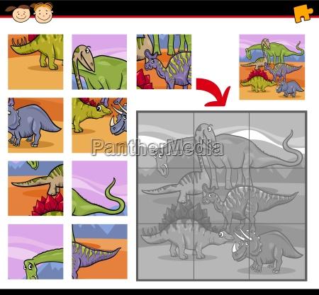 cartoon dinosaurs jigsaw puzzle game