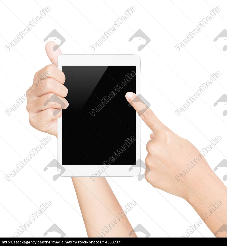weiße, tablette, schirm, weiß, mit, clipping-pfad - 14383737