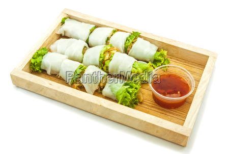rice paper wrapped vegetable with vermicelli