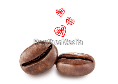 coffee beans with hearts