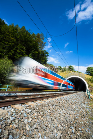fast train passing through a tunnel
