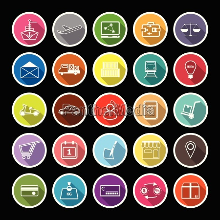 international business line flat icons mit