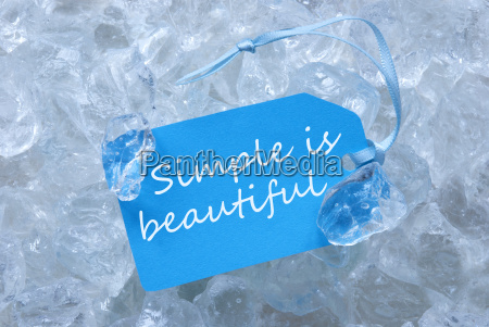 blue label on ice with simple