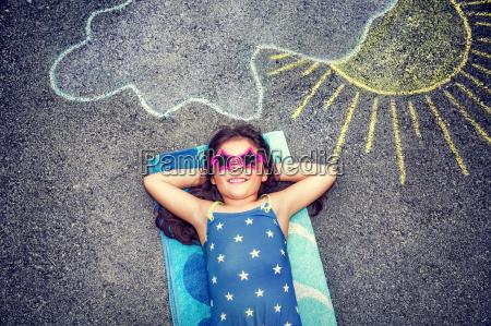 happy little girl outdoors