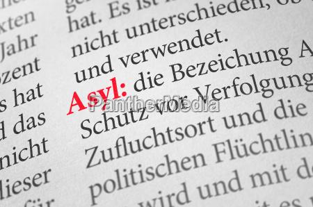 woerterbuch mit dem begriff asyl