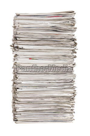 newspaper stack against a white background