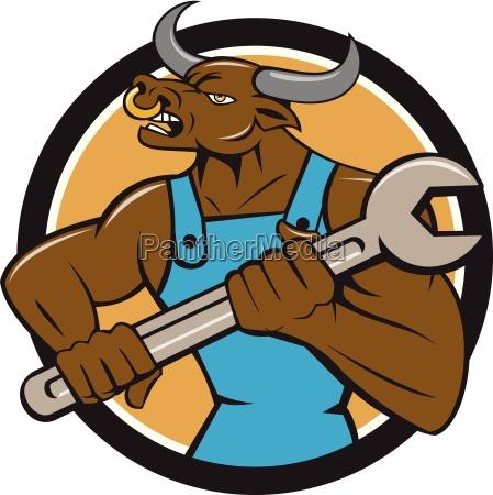 mechanic minotaur bull spanner circle cartoon