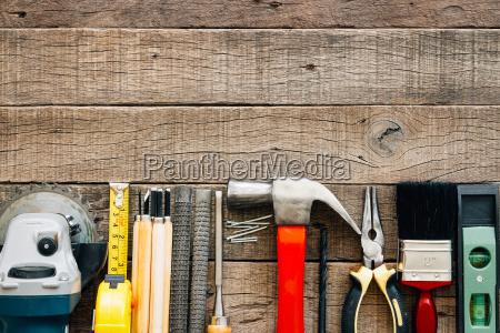 carpentry tools equipment on grain wood