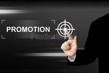 business hand druecken promotion button auf
