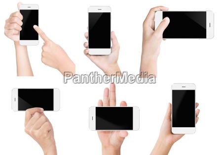hand halten weissen modernen smartphone bildschirmanzeige