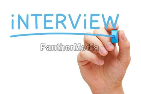 interview blau marker