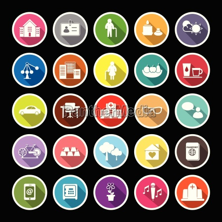 retirement community flat icons with long