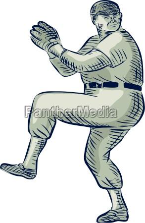 amerikanisch amerikaner baseball werfer amerikanische radierung