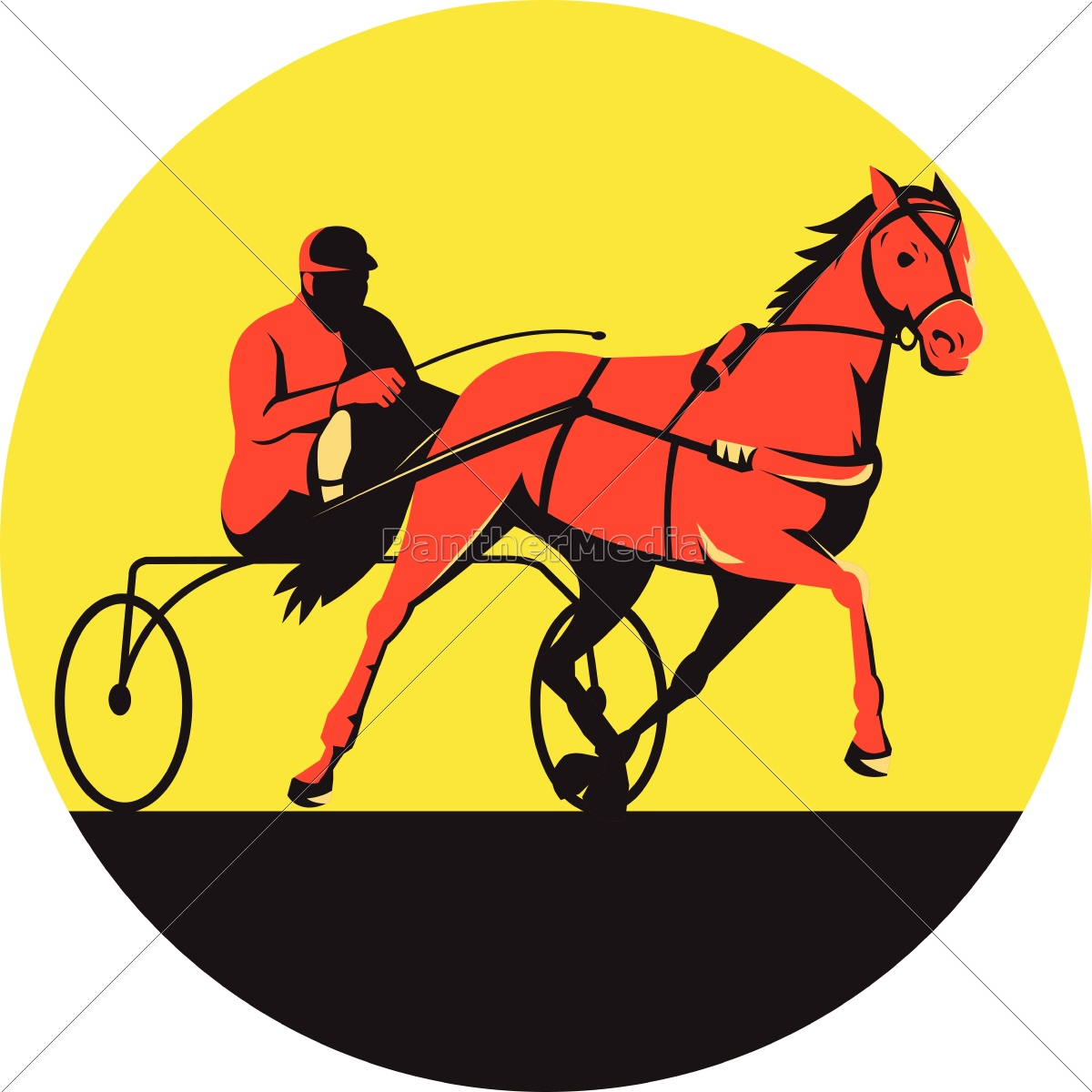 pferd, und, jockey, harness, racing, kreis - 14444251