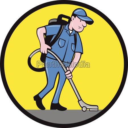 gewerbereiniger janitor vacuum kreis cartoon