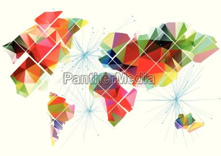 zusammenfassung multicolor weltkarte