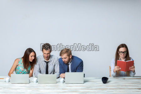 business team working on their business