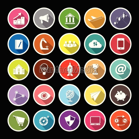 startup business flat icons with long