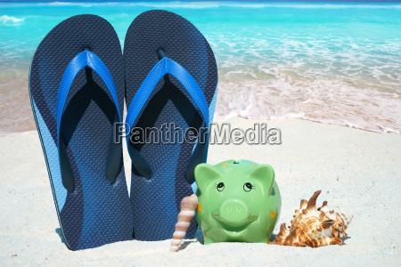piggy bank flips flops and shells