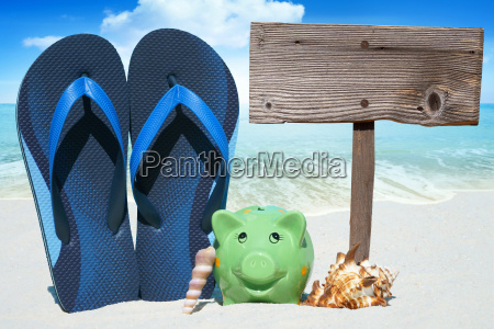 piggy bank flips flops and empty