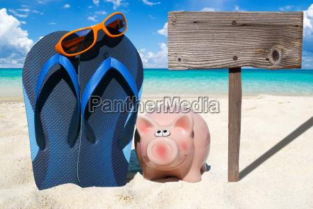 piggy bank flips flops and empty