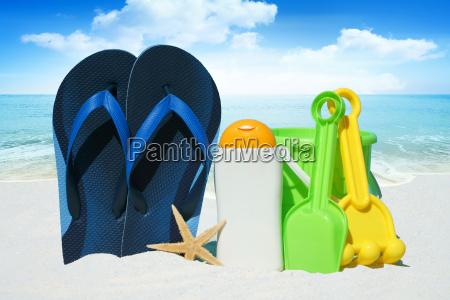 flip flops sunmilk starfish and beach