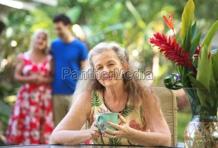 couple with healthy aging mother