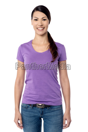 smiling woman posing camera