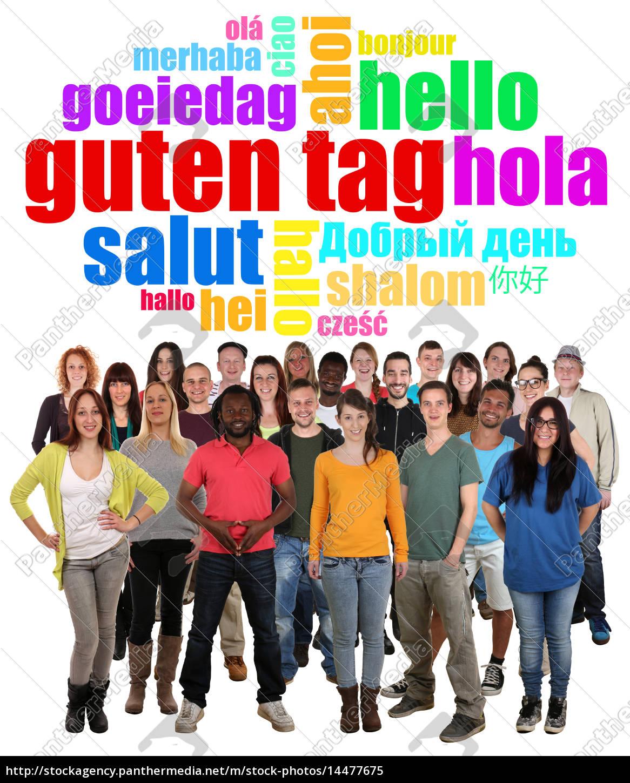 multikulturell, große, people, gruppe, junge, leute - 14477675