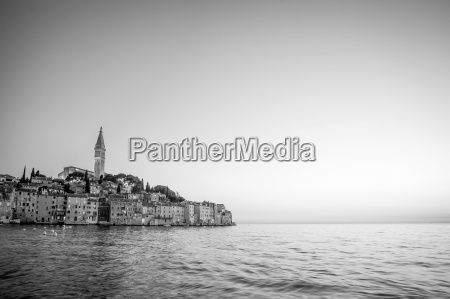 old city core in rovinj bw