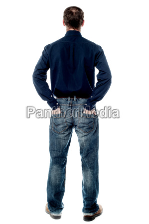 middle aged casual man from back