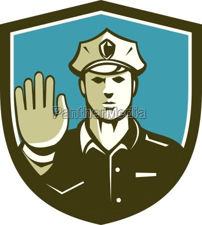 verkehrspolizist hand stoppschild schild retro