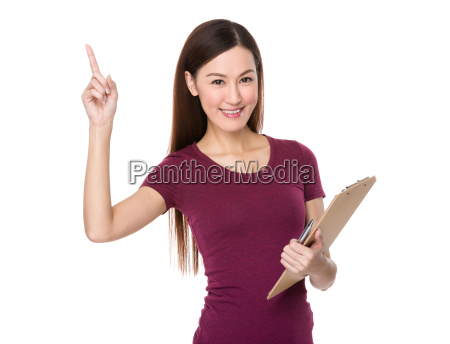 asian woman hold with folder and