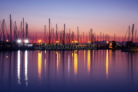 harbor in the evening