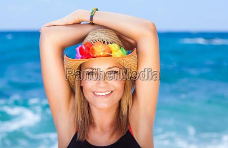 cheerful girl on the beach