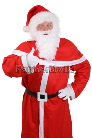 weihnachtsmann portrait nikolaus zeigt an weihnachten