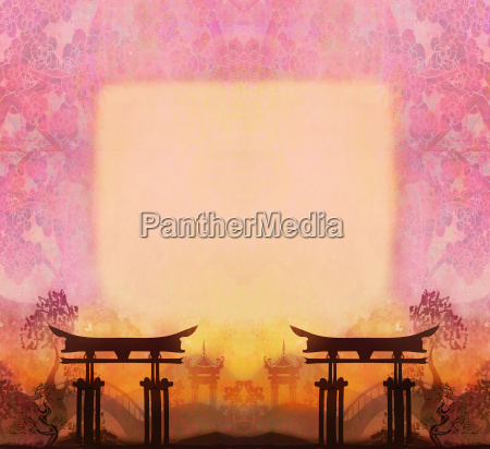 abstract chinese landscape with a frame