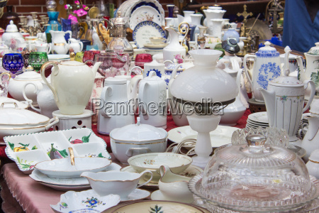 table with various old dishes