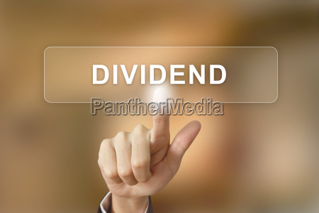 business hand clicking dividend button on