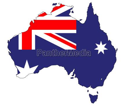 australien flagge map