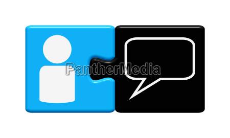 button puzzle mit sprechblase icon