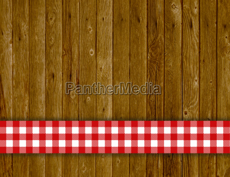 rustic wood background with red white