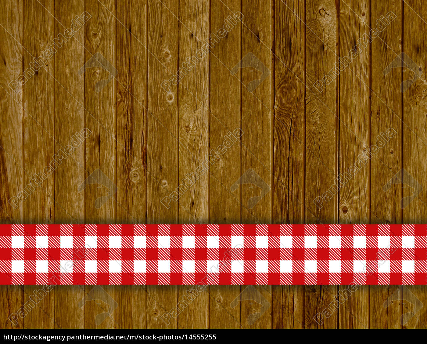 rustikaler holz hintergrund mit rot weisser tischdecke lizenzfreies bild 14555255. Black Bedroom Furniture Sets. Home Design Ideas