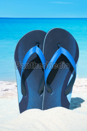 blue flip flops stuck in the